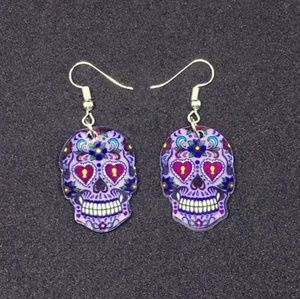 Sugar Skull Dangle Acrylic Earrings